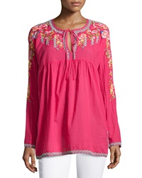Johnny Was Embroidered Empire Tunic Amaranth