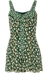 Anna Sui Printed Silk Georgette Playsuit Green