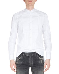 Balmain Banded Collar Pleated Front Tuxedo Shirt White