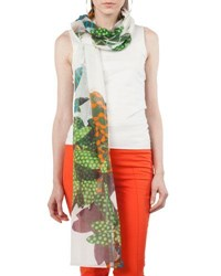 Akris Punto Tropical Leave Printed Cashmere Scarf White Pattern