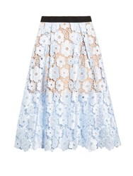Self Portrait Flower Garden Guipure Lace Midi Skirt Blue Multi