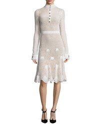 Derek Lam Long Sleeve Button Front Crochet Dress White