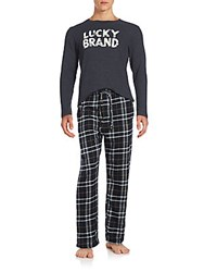 Lucky Brand Two Piece Cotton Blend Tee And Cotton Pants Pajama Set Jet Charcoal