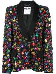 Moschino Floral Embroidered Blazer Women Cotton Rayon 42 Black