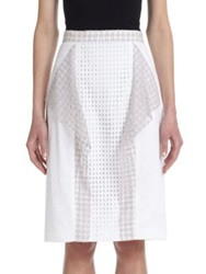3.1 Phillip Lim Draped Panel Stretch Cotton Eyelet Skirt Navy White