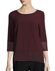 French Connection Three Quarter Sleeve Boatneck Tee Winter Wine