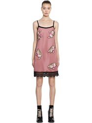 House Of Holland Mini Mesh Dress W Floral Patches