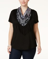 Styleandco. Style Co. Plus Size T Shirt With Fringe Scarf Only At Macy's Deep Black