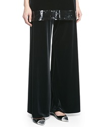 Joan Vass Velour Wide Leg Pants Black