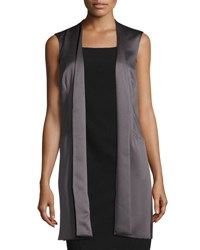 Laundry By Shelli Segal Open Front Satin Vest Gray