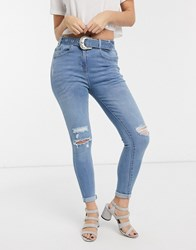 Parisian Belted Jeans In Mid Wash Blue