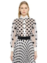 Ungaro Silk Satin And Polka Dot Organza Shirt