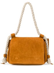 Elena Ghisellini Suede Rope Handle Bag Brown