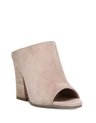 Franco Sarto Firefly Suede Peep Toe Mules Taupe