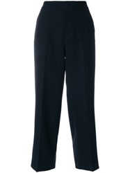 Pt01 Cropped Tailored Trousers Elastodiene Polyester Black