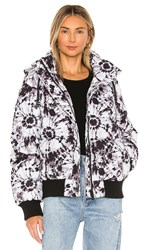 Jocelyn Puffer Jacket In Black And White. Black And White Tie Dye