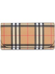 Burberry Vintage Check And Leather Continental Wallet Yellow