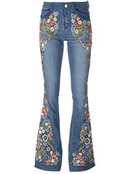 Alice Olivia Alice Olivia Paisley Embroidered Flared Jeans Blue