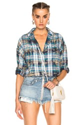 R 13 R13 Big Boy Top In Blue Checkered And Plaid Blue Checkered And Plaid