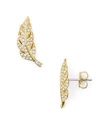 Nadri Pave Feather Stud Earrings Gold Clear