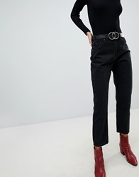 Lost Ink High Waist Jeans In Straight Leg Fit Washed Black