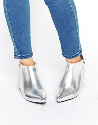 London Rebel Silver Point Side Zip Boots Silver Pu