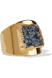Dara Ettinger Gold Plated Stone Ring Storm Blue