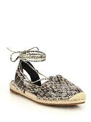 Michael Kors Tiffany Snakeskin Lace Up Espadrille Flats Natural