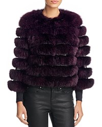 Maximilian Furs Leather Trim Saga Fox Fur Coat Violet