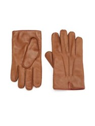 Portolano Cashmere Lined Leather Gloves Tan