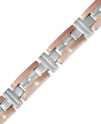 Macy's Men's Diamond Two Tone Bracelet 1 10 Ct. T.W. In Stainless Steel And Rose Gold Color Ion Plated Stainless Steel Two Tone