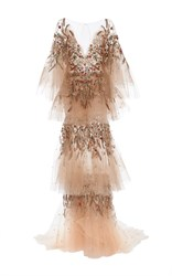 Marchesa Plunging Neckline Tiered Gown Brown Gold Silver