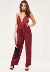 Missguided Petite Exclusive Burgundy Hammered Satin Jumpsuit