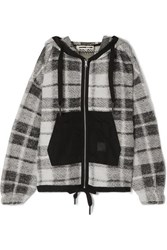 Mcq By Alexander Mcqueen Shell Paneled Checked Cotton Blend Hoodie Black