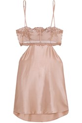 La Perla Morgane Cutout Embroidered Tulle And Stretch Silk Blend Satin Chemise Pink