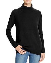 Bloomingdale's C By Raglan Pointelle Turtleneck Cashmere Sweater Black