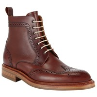 John Lewis And Co. Derby Leather Brogue Boots Oxblood