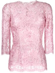 Dolce And Gabbana Floral Lace Blouse Pink Purple
