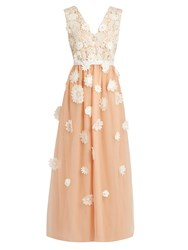 Huishan Zhang Petal Floral Applique Tulle Gown Pink White