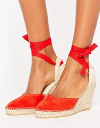 Park Lane Suede Tie Ankle Espadrille Wedge Red