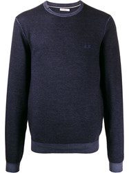Sun 68 Round Neck Jumper Blue