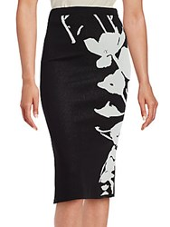 Sachin Babi Chenille Floral Pencil Skirt Jet Ivory