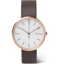 Uniform Wares M40 Precidrive Rose Gold Tone And Leather Watch White