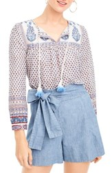 J.Crew Women's Floral Paisley Cotton Peasant Top Bright Periwinkle