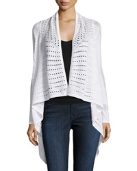 Joan Vass Open Knit Draped Long Sleeve Cardigan White Stone