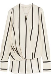 Rag And Bone Max Wrap Effect Striped Silk Blouse Ivory