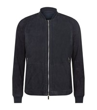 Boss Perforated Suede Bomber Jacket Male Navy