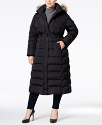 Michael Kors Plus Size Hooded Faux Fur Trim Down Belted Maxi Puffer Coat Black
