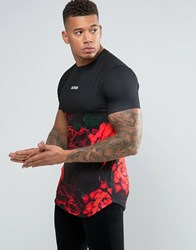 Hype T Shirt With Floral Panel Black