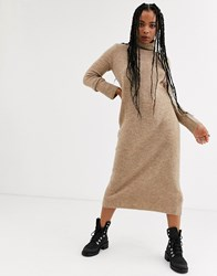 Bershka Roll Neck Jumper Dress In Camel Beige